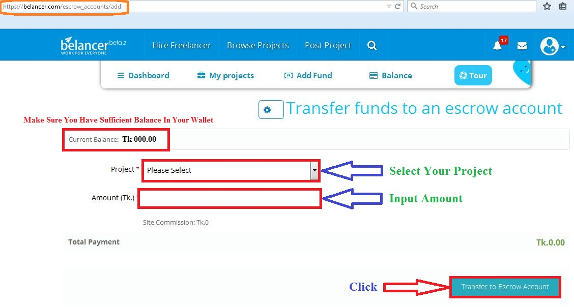 transfer fund on escrow account