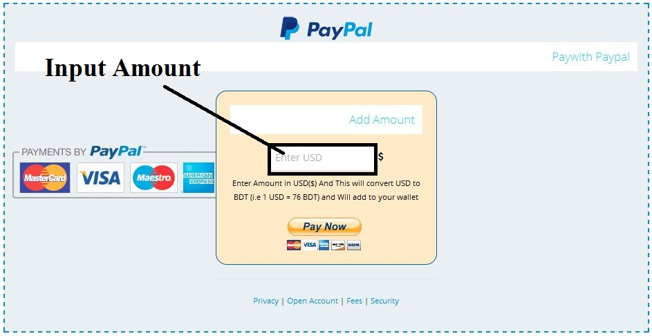 add fund at Belancer account by PayPal