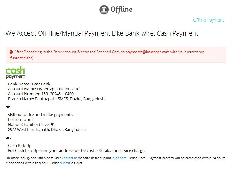 Offline Fund Add in Belancer